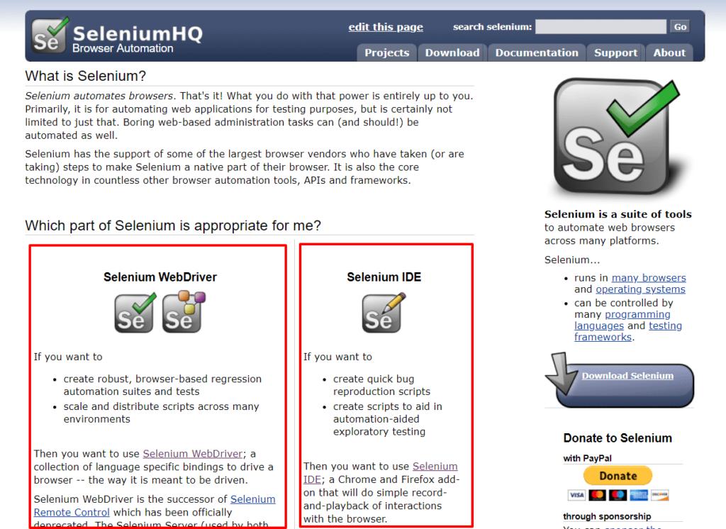 Selenium公式サイトトップ
